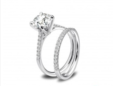 channel set engagement rings ritani graduated double prong pav